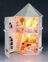 Free shipping 1:12 DIY mini dollhouse with LED light furniture 2floors doll houses Gifts for Girlfriend or children