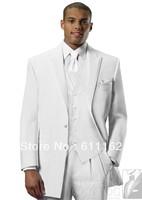 Free shipping/custom made cheap good men's tuxedos//White jacket and pants,purple vest,wedding Groom wear dress/Groomsman suits