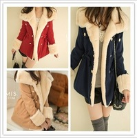 free shipping Women's autumn and winter slim double breasted wool preppy style wool coat