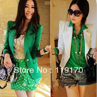 2014 high quality Women's Fahion Lapel Collar One Button Blazer Spring/Autumn Dot Lining Jacket Shoulder Pad Green Blazer 9102#