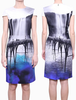 Women  2013 MARY KATRANTZOU  print dress elegant Abito HC Fitted seta stampata dresses kc235