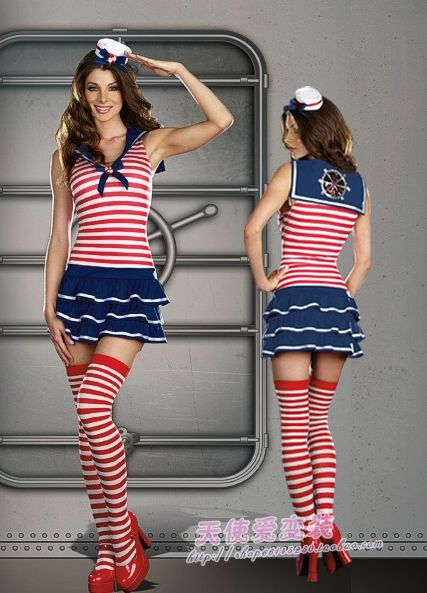 Red and white stripe navy uniforms sailor suit sea military cosplay ds ...