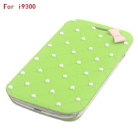 PU Leather Bowknot Dot Pearl Grid Pattern Phone Bags Full Body Flip Cover Case For Samsung Galaxy S3 i9300/S4 i9500/Note 2 N7100