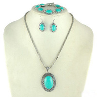 Hot Selling Vintage Retro Ellipse Turquoise Jewelry Set Earrings+Bracelet+Necklace Women 2013 Jewelry Free shipping RuYiXLY025