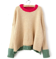 2013 plus size clothing mm loose color block decoration velvet yarn patchwork medium-long batwing sleeve sweater