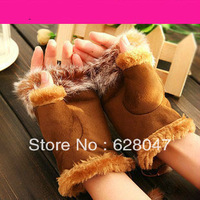 Hot Selling!! Autumn And Winter New Arrival Deerskin Rabbit Velvet Fur Semi-finger Fashion Thermal Gloves Free Shipping