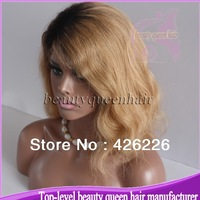 Hot sale 130%-180% density two tone ombre color #2/#27 natural wave ombre glueless full lace human hair wigs with bleached knots