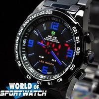 Free Shipping WEIDE Men LED Dual Display Full Steel Quartz Watch Kids Casual Sport Waterproof Analog Wristwatch Christmas Gift