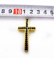 Fashion DIY Black Crystal Rhinestone Cross Beads White Gold Plated Sideways Bracelets Connectors 20pcs/Lot Free Shipping