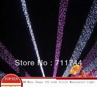 Free shipping/9 Color 4M Wave shape 122 leds  waterproof icicle Lights with 8 Lighting for Wedding Christmas Decoration EU Plug
