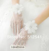 Wedding Bridal Accessories White Full Finger Transparency Short Girls Bridal Gloves Mittens Flower KH509