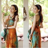 2013 bohemia slim V-neck spaghetti strap full dress orange green splash-ink slim waist one-piece dress beach dress