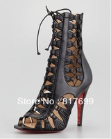 Free Shipping Women Sexy Black Lace-up Peep Toe Cut-out Gladiator Ankle Boots Red Bottom Boots