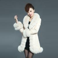 EMS free shipping 2014 new genuine leather female medium-long down coat fox fur collar sheepskin genuine leather coat(M---XXXL)