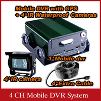 4 CH GPS vehicle cameras system with HDD storage for truck bus tanker taxi- X8913B