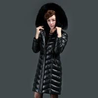 EMS free shipping 2014 fox fur hat tie long design slim plus size thickening sheepskin genuine leather down coat female(M--XXXL)