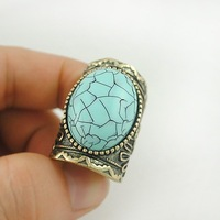 Hot Sale Vintage Retro Jewelry Antique Bronze Plated Alloy Turquoise Bead Oval Ring For Women  RuYiJZY001