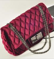 Special Offer! women lady's handbag /2 colors,women velvet bag women chain Shoulder Bag channelled women/gift Free shippping
