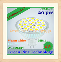 FedEX Free Shipping 20 pcs SMD 5050 24 LED 5W MR16 110-240V&12V High Quality LED Spotlight bulb light downlight lamp LED light