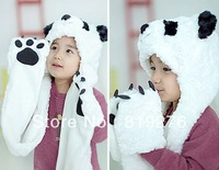 3-12Y Retailer Autumn winter kid's hat scarf set , panda infant hats scarf set ,baby boys/girls winter hat+scarf