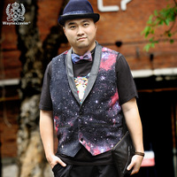 Plus size  Galaxy suit British style cosmic  Cotton vest waistcoat for Men  M L XL  XXL