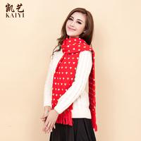 Free shipping Autumn and winter scarf female yarn ultra long tassel heart 019