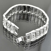NEW Fashion Jewelry 15mm Mens Womens Stars Pattern Huge Square Link Chain 18K White Gold Filled Bracelet Gold Jewellery GFB104