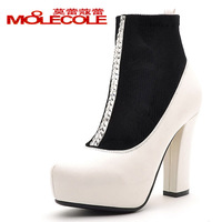 2013 spring and autumn ankle boots martin boots thick heel rhinestone high-heeled single shoes colorant match women's shoes