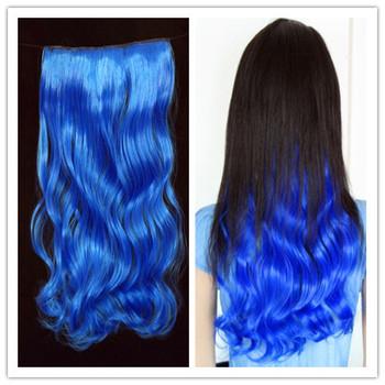 """wholesale 5 clip-in hair extension blue wavy  100g/pcs 16"""" Hot Sale"""