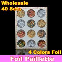 Wholesale 12 pots Gold Silver Copper Foil Paillette Chip Colors Nail Art Glitter Foil Decoration Set + Free Shipping
