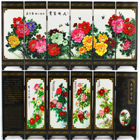Antique small screen fan blooping b rich business gift painting decoration crafts decoration
