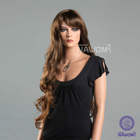 High Quality Free Shipping Super Long Dark Brown Wavy  wigs with bangs for women 100% Kanekalon Sexy women wigs