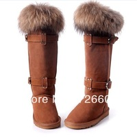 2014cowhide snow boots gaotong female over-the-knee 25pt fox fur