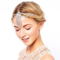 Free Shipping Fashion Silver Plated Rhinestone Flapper Jewel HairBand Hair Jewelry High Quality