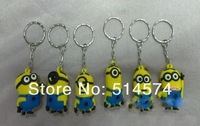 Free shipping New Set of 6 characters Despicable Me 2 PVC Figures with Keychain Retail