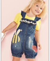 210428 New (3set/Lot ) Girls strap short-sleeved denim overalls 2 Set suit Jean Bib + Yellow Shirts Babys Children's clothing