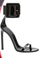 Karlie Kloss Ankle Strap Sandals Metal buckle decoration Candy Color Ankle strap Heels high-heeled shoes