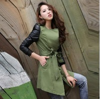 2014 New womens dust coat medium-long trench coat spring outwear leather sleeve patchework 2 color plus size free shipping