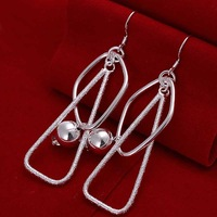 Free shipping 925 sterling silver jewelry earring fine retaining ring ball drop earring wholesale and retail SMTE072