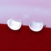 Factory price top quaility 925 sterling silver jewelry earring fine lovely bean stud jewelry earring free shipping SMTE059