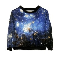 EAST KNITTING XL-061 New Women's plus size Winter Hoodies 2013 Fashion Woman sweatershirts galaxy blue printed pullovers HOT