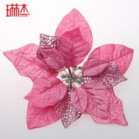 20cm pink diamond velvet strip powder quality christmas flower christmas tree decoration supplies  =sdZ2