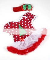 Free Shipping 5 Sets/lot  Girl Super Cute Christmas Red TUTU Dress & Hair Ornaments Suit