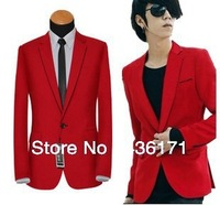 2015 Free shipping ! New Stylish Men Casual Slim fit One Button Suit Pop Blazer  men Coat men's Jacket Red New Arrive