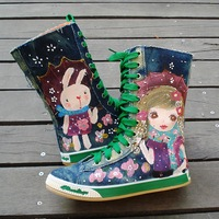 Free shipping 2013 child canvas shoes female child high single boots lovely princess shoes girls hand-painted shoes