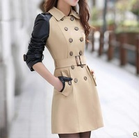 2014 New fashion womens dust coat medium-long trench coat female outwear leather patchework Army green plus size free shipping