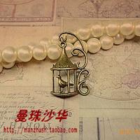 Zakka antique diy handmade accessories material 34 21mm vintage alloy bird cage