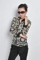 Women's 2013 fashion spring and summer hot-selling vintage print pattern color block decoration stand collar chiffon shirt