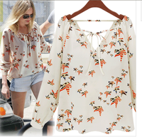 Women's 2013 fashion star style abstract peace dove animal print strap long-sleeve shirt