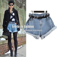 2014 XS-XL Size Celebrity Style Vintage Oversized Baggy Rolled-up Boyfriend Denim Jean Shorts Summer Spring Autumn Shorts SH11